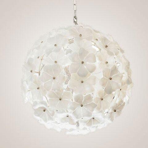 Valerie Wade Lc071 White Murano Globe Chandelier 01