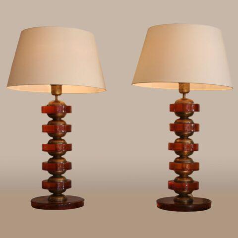 Valerie Wade Lt499 Pair Italian Amber Disc Lamps 01