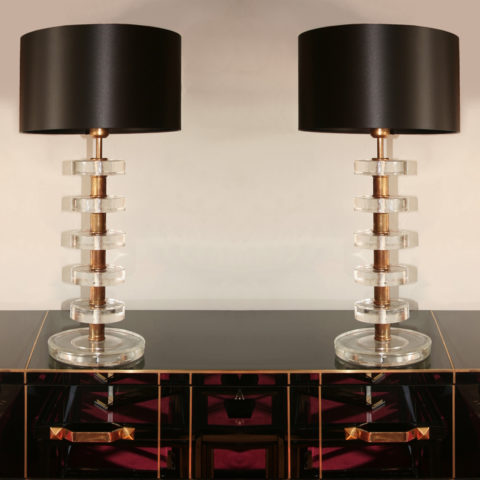 Valerie Wade Lt551 Pair Italian Clear Glass Disc Lamps 01