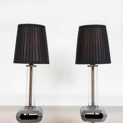 Valerie Wade Lt558 Pair 1950S Metal Glass Lamps 01