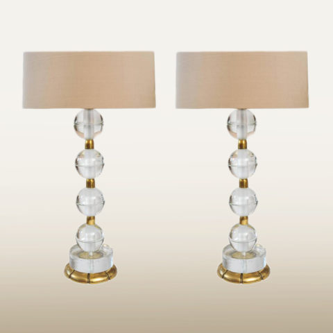 Valerie Wade Lt628 Pair Murano Glass Ball Lamps 01