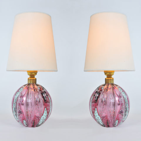 Valerie Wade Lt649 Pair 1950S Two Tone Murano Ball Lamps 01