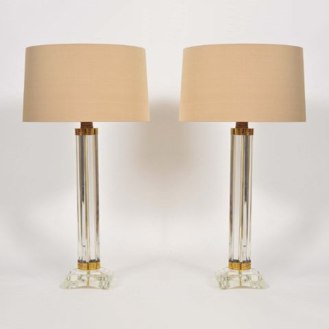Valerie Wade Lt674 Pair Italian Murano Glass Column Lamps 01