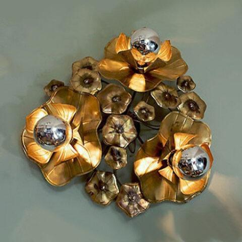 Valerie Wade Lw089 Triple Lotus Flower Wall Light 01