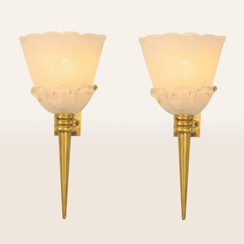 Valerie Wade Lw583 Pair 1950S Latte Wall Lights Attributed Venini 01