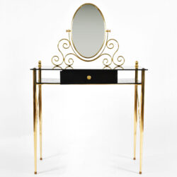 The image for Black Glass And Brass Dressing Table 02
