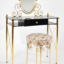 The image for Black Glass And Brass Dressing Table 03