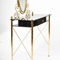 The image for Black Glass And Brass Dressing Table 05