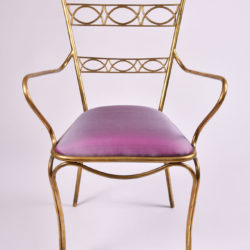The image for Brass Chair Purple Upholstered Seat 02