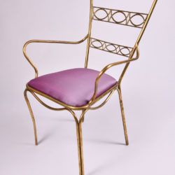 The image for Brass Chair Purple Upholstered Seat 03