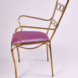 The image for Brass Chair Purple Upholstered Seat 04