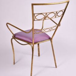 The image for Brass Chair Purple Upholstered Seat 05