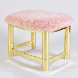The image for Fluffy Pink Brass Stool 01