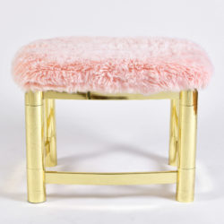 The image for Fluffy Pink Brass Stool 02