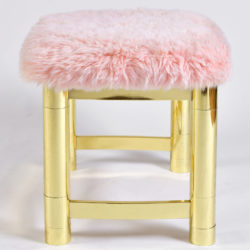 The image for Fluffy Pink Brass Stool 03