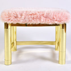 The image for Fluffy Pink Brass Stool 04