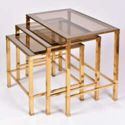 The image for Italian Nest Brass Side Tables 02