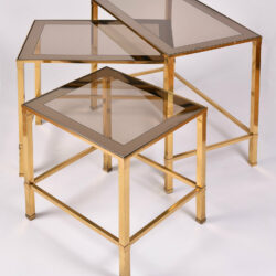 The image for Italian Nest Brass Side Tables 03
