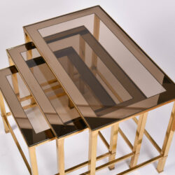 The image for Italian Nest Brass Side Tables 04
