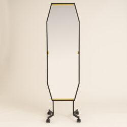 The image for Italian Black Octagonal Floor Mirror 0302