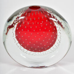 The image for Murano Red Bubble Vase 03