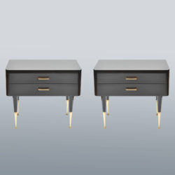 The image for Pair Black Lacquer Bedsides –1