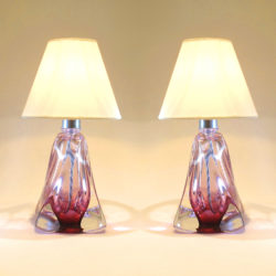 The image for Pair Cranberry Lamps 01