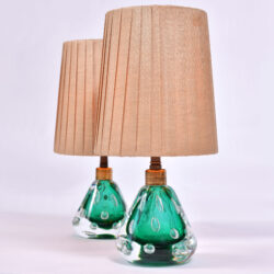 The image for Pair Emerald Green Murano Lamps 01