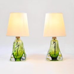 The image for Pair Green Glasss Lamps 01