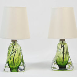 The image for Pair Green Glasss Lamps 02