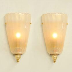The image for Pair Italian Murano Wall Lights 01