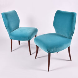 The image for Pair Turquoise Velvet Chairs 02