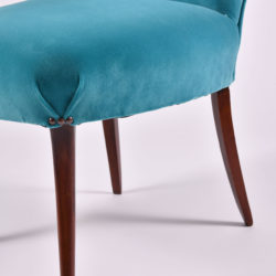 The image for Pair Turquoise Velvet Chairs 06
