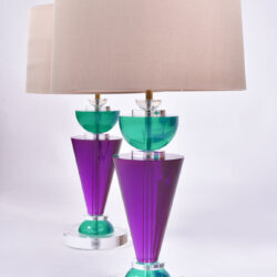 The image for Pair Van Teal Lamps 02