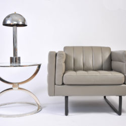The image for Pair Grey Leather Armchairs 02