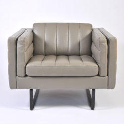 The image for Pair Grey Leather Armchairs 03