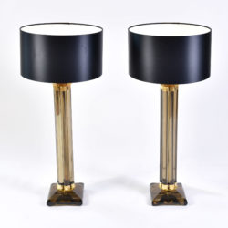 The image for Pair Smoked Column Lamps 02
