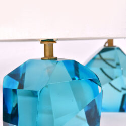 The image for Pair Turquoise Rock Lamps 03