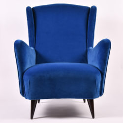The image for Paolo Buffa Blue Velvet Armchair 02