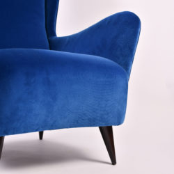 The image for Paolo Buffa Blue Velvet Armchair 05