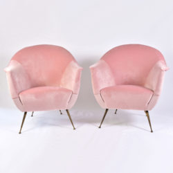 The image for Pink Velvet Armchairs And Pouf 02