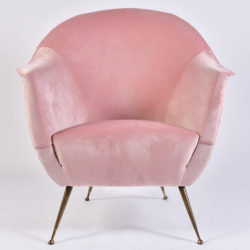 The image for Pink Velvet Armchairs And Pouf 03