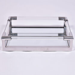 The image for Us Lucite Chrome Rectangular Tray 4