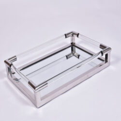The image for Us Chrome Lucite Rectangular Tray 1