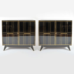 The image for Valerie Wade 0621 Pair 1970S Italian Black Glass Cabinets 01
