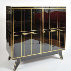 The image for Valerie Wade 0621 Pair 1970S Italian Black Glass Cabinets 02
