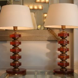The image for Valerie Wade Lt499 Pair Italian Amber Disc Lamps 02