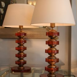 The image for Valerie Wade Lt499 Pair Italian Amber Disc Lamps 03