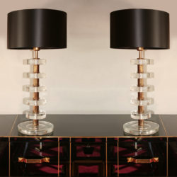 The image for Valerie Wade Lt551 Pair Italian Clear Glass Disc Lamps 01