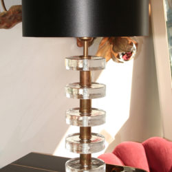 The image for Valerie Wade Lt551 Pair Italian Clear Glass Disc Lamps 02